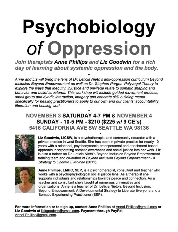 Psychobiology of Oppression Poster